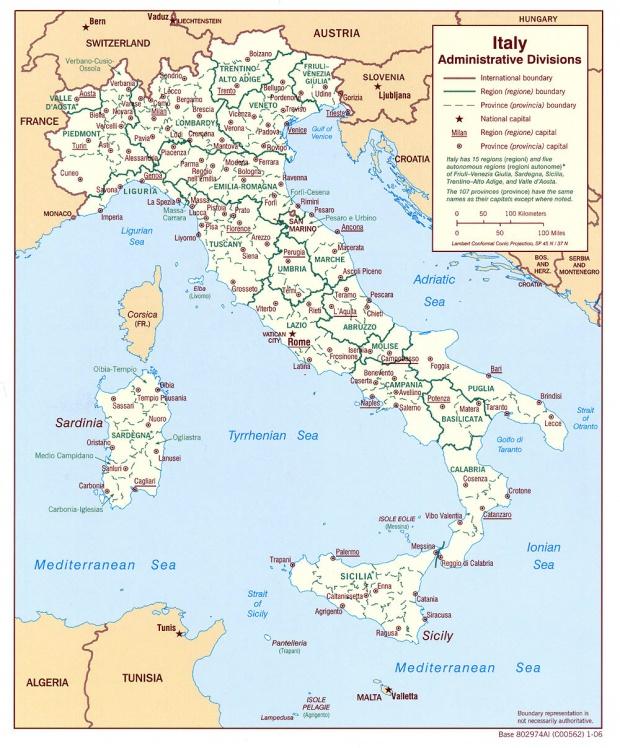 Mapa de las Divisiones Administrativas de Italia