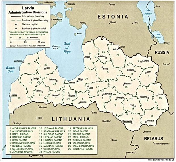 Mapa de las Divisiones Administrativas de Letonia