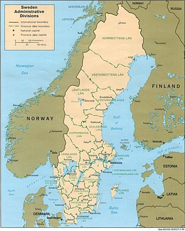 Mapa de las Divisiones Administrativas de Suecia