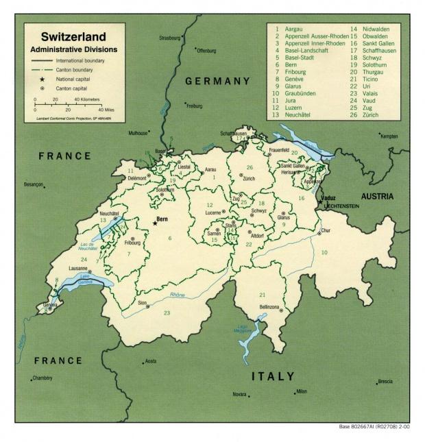 Mapa de las Divisiones Administrativas de Suiza