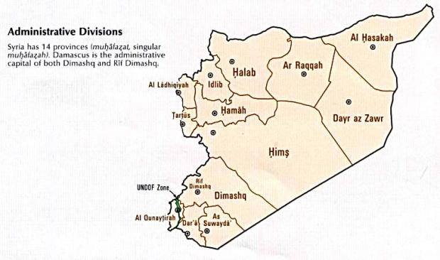 Mapa de las Divisiones Administrativas de Syria