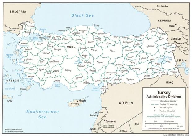 Mapa de las Divisiones Administrativas de Turquía