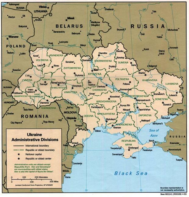 Mapa de las Divisiones Administrativas de Ucrania