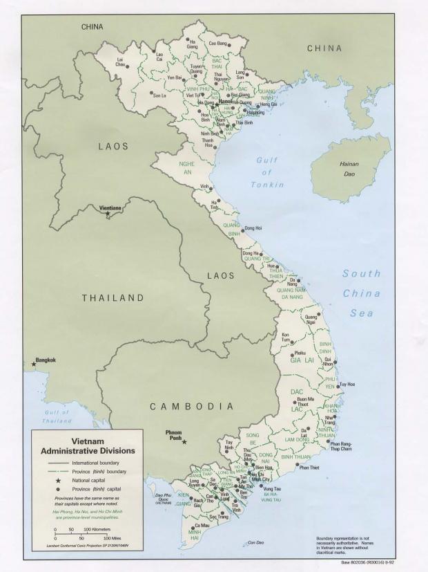 Mapa de las Divisiones Administrativas de Vietnam