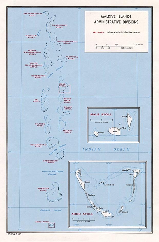 Mapa de las Divisiones Administrativas de las Maldivas