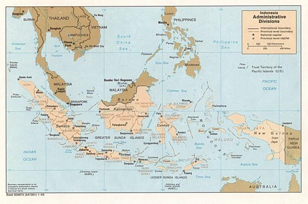 Mapa de las Divisiones de Indonesia