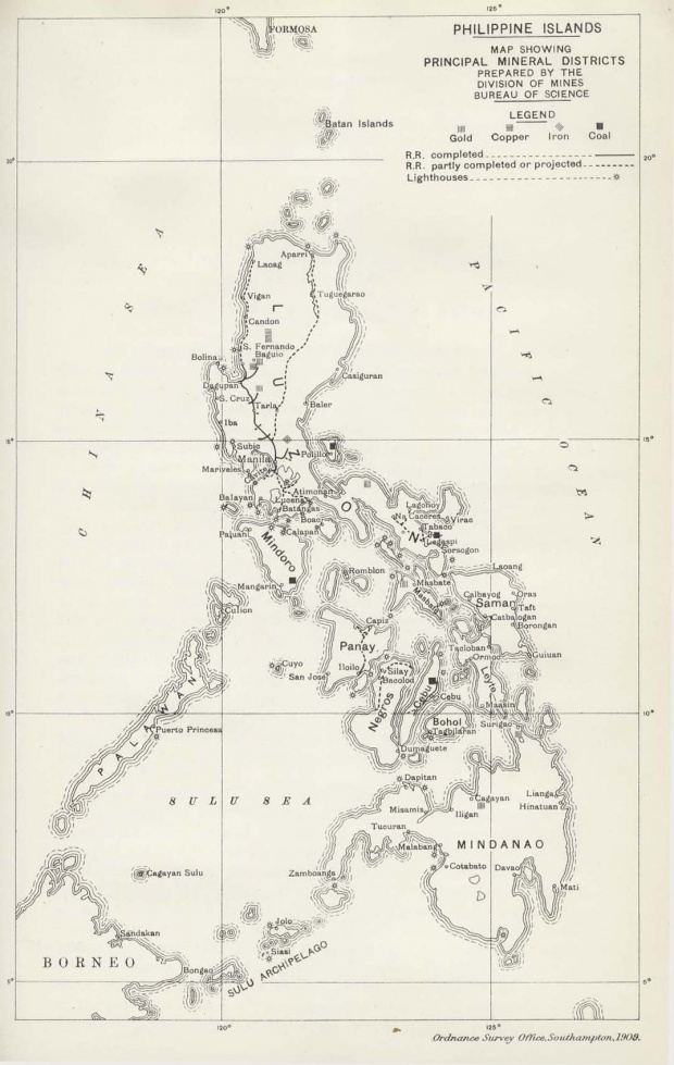 Mapa de las Filipinas 1909