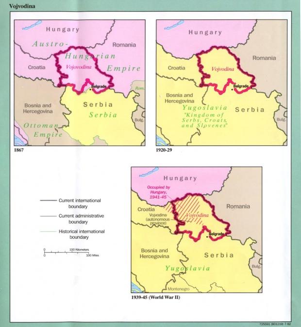Mapa de las Fronteras Históricas de Voivodina 1867 - 1992