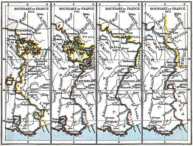 Mapa de las Fronteras de Francia 1555 A.D. - 1871