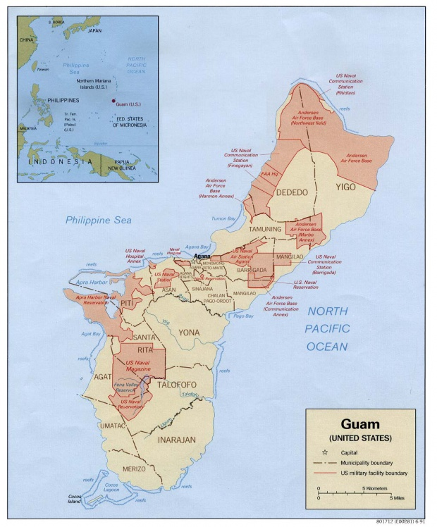 Mapa de las Instalaciones Militares de Estados Unidos, Guam