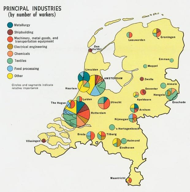 Mapa de las Principales Industrias de los Países Bajos