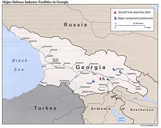 Mapa de las Principales Instalaciones de la Industria de Defensa de Georgia