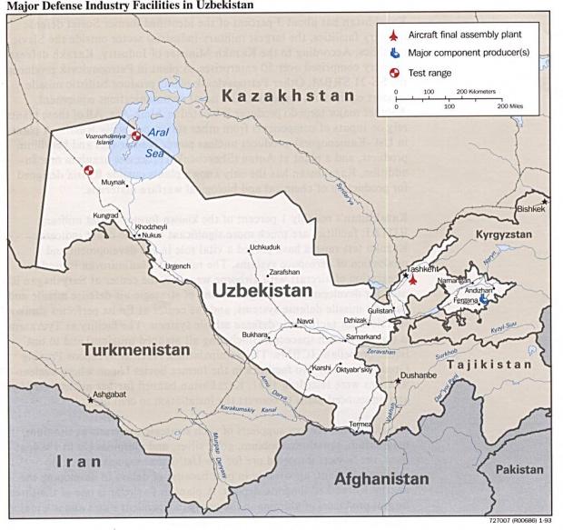 Mapa de las Principales Instalaciones de la Industria de Defensa de Uzbekistán