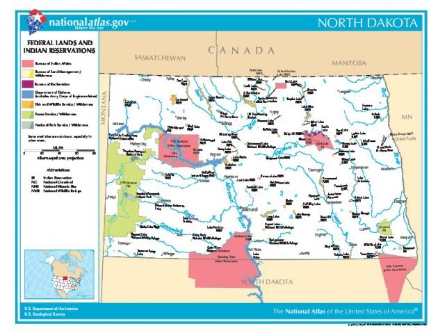 Mapa de las Tierras Federales y de las Reservas Indigenas, Dakota del Norte, Estados Unidos