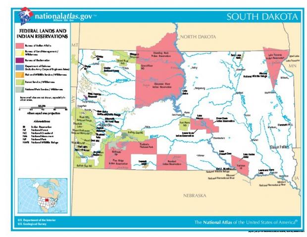 Mapa de las Tierras Federales y de las Reservas Indigenas, Dakota del Sur, Estados Unidos