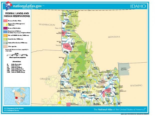 Mapa de las Tierras Federales y de las Reservas Indigenas, Idaho, Estados Unidos