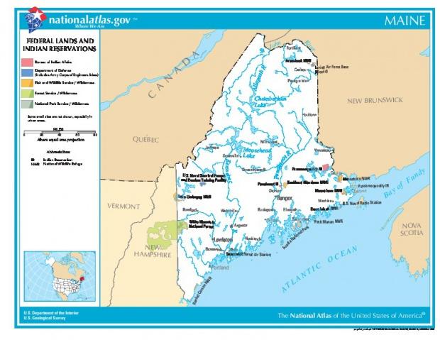 Mapa de las Tierras Federales y de las Reservas Indigenas, Maine, Estados Unidos