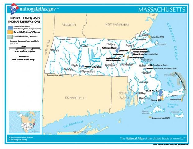 Mapa de las Tierras Federales y de las Reservas Indigenas, Massachusetts, Estados Unidos