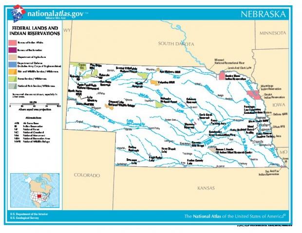 Mapa de las Tierras Federales y de las Reservas Indigenas, Nebraska, Estados Unidos