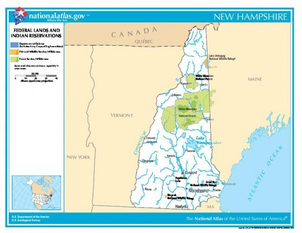 Mapa de las Tierras Federales y de las Reservas Indigenas, Nuevo Hampshire, Estados Unidos