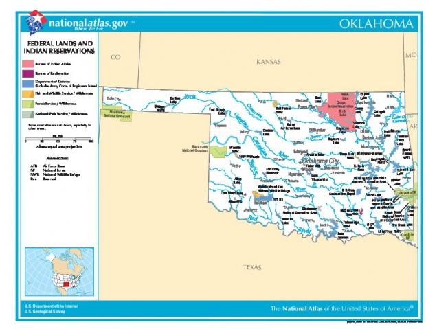 Mapa de las Tierras Federales y de las Reservas Indigenas, Oklahoma, Estados Unidos