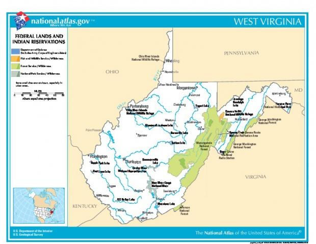 Mapa de las Tierras Federales y de las Reservas Indigenas, Virginia Occidental, Estados Unidos