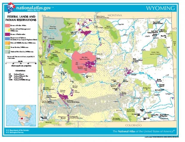 Mapa de las Tierras Federales y de las Reservas Indigenas, Wyoming, Estados Unidos