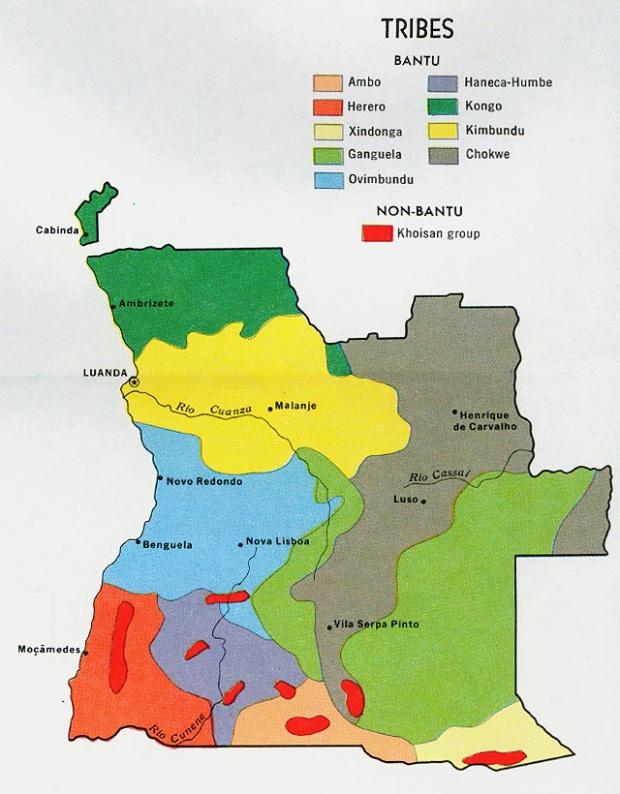 Mapa de las Tribus de Angola