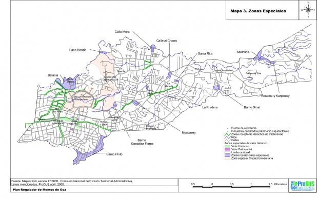 Mapa de las Zonas Especiales, Montes de Oca, Costa Rica