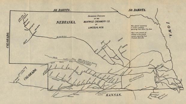 Mapa de los Centros de Acopio de la Beatrice Creamery Co. de Lincoln, Nebraska, Estados Unidos 1901