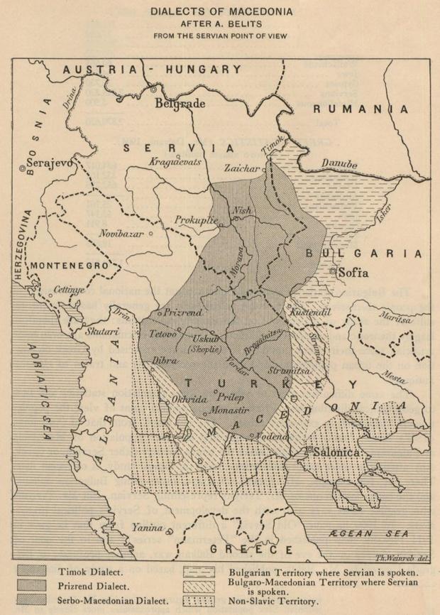Mapa de los Dialectos de Macedonia 1914