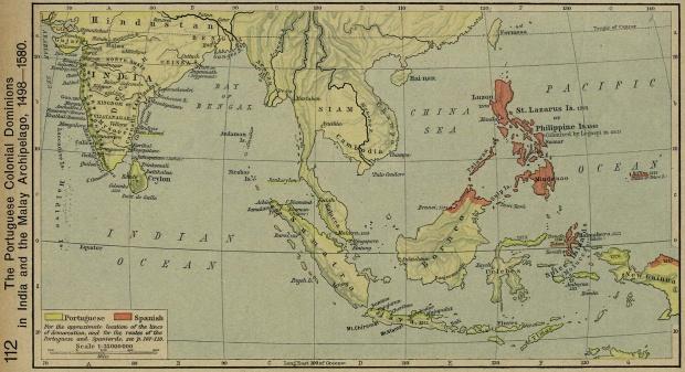 Mapa de los Dominios Coloniales de Portugal en India y Insulindia 1498 - 1580