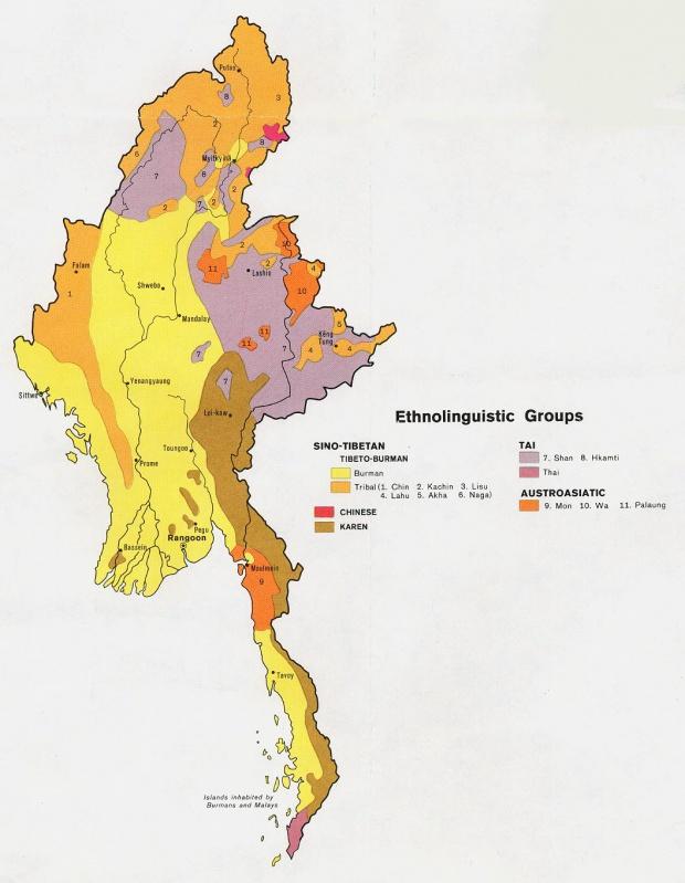 Mapa de los Grupos Etnolingüísticos de Birmania (Myanmar)