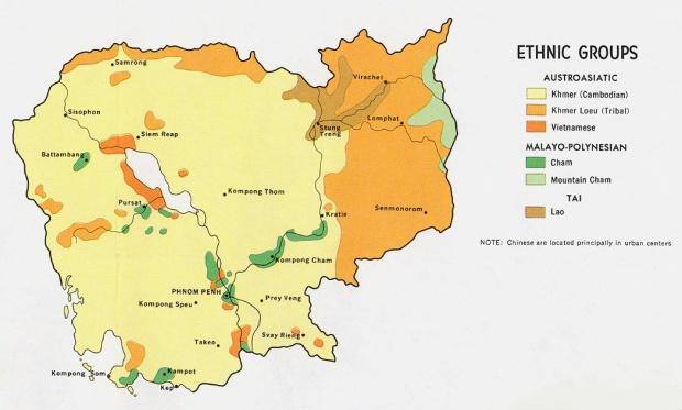Mapa de los Grupos Etnolingüísticos de Camboya