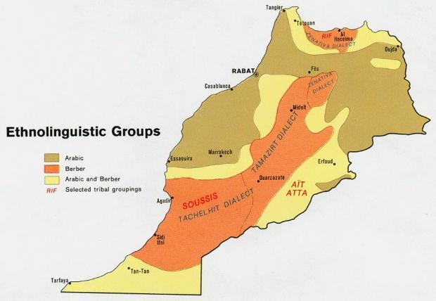 Mapa de los Grupos Etnolingüísticos de Marruecos