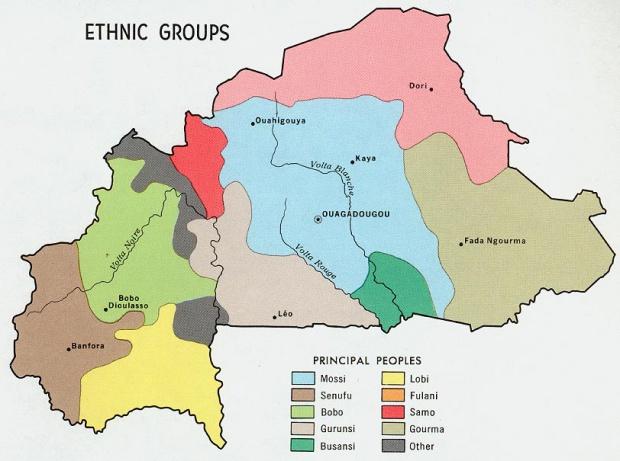 Mapa de los Grupos Étnicos de Burkina Faso