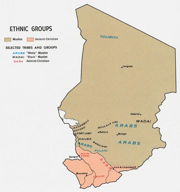 Mapa de los Grupos Étnicos de Chad