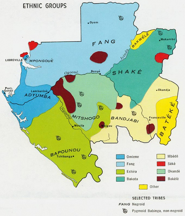 Mapa de los Grupos Étnicos de Gabón