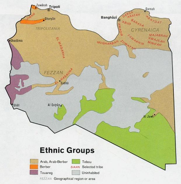 Mapa de los Grupos Étnicos de Libia