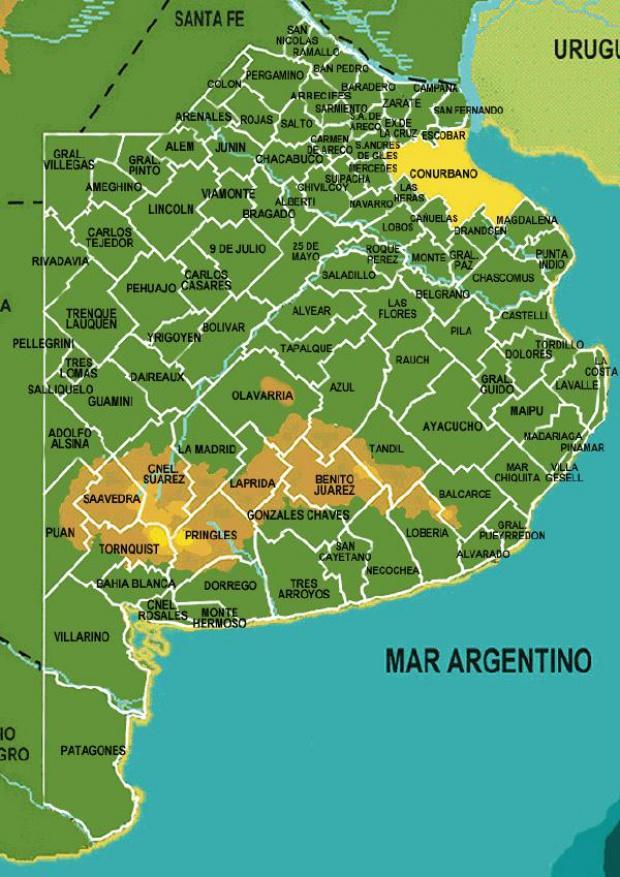 Mapa de los Municipios de la Provincia de Buenos Aires, Argentina