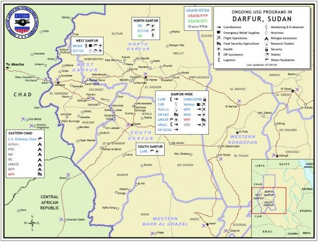 Mapa de los Programas USG en Darfur, Sudán, Julio 4 2004