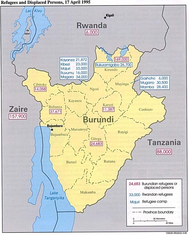 Mapa de los Refugiados y Personas Desplazadas, Burundi, 17 Abril 1995