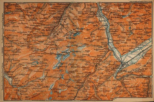 Mapa de los Valles del Trient, Suiza 1914