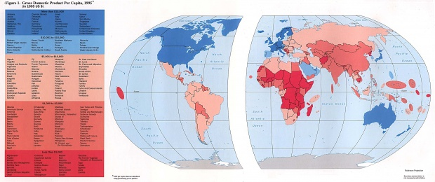 Mapa de países por PIB per capita 1996