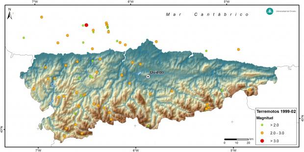 Mapa de sismicidad de Asturias