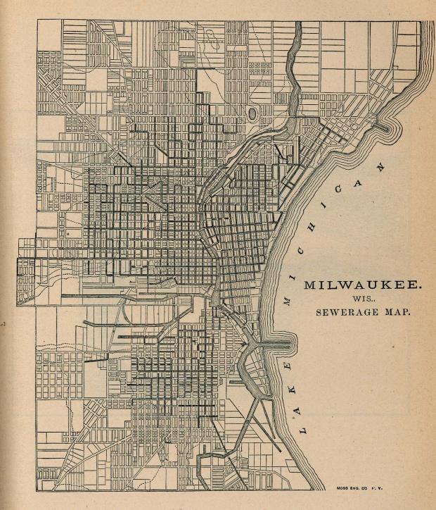 Mapa del Alcantarillado de Milwaukee, Wisconsin, Estados Unidos 1880