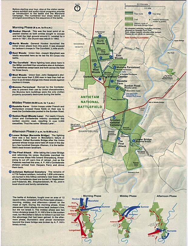 Mapa del Campo de Batalla Nacional Antietam con Mapas de la Batalla, Maryland, Estados Unidos