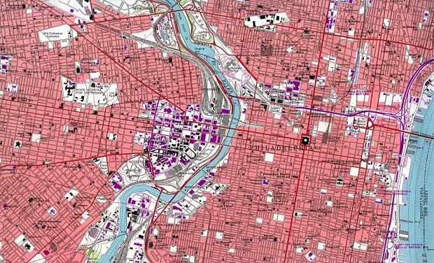 Mapa del Centro de la Ciudad de Filadelfia, Pensilvania, Estados Unidos