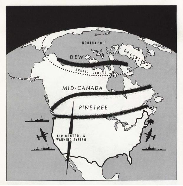 Mapa del Control Aéreo y Sistema de Alerta DEW de América del Norte, Líneas del Medio de Canadá, y Pino 1960