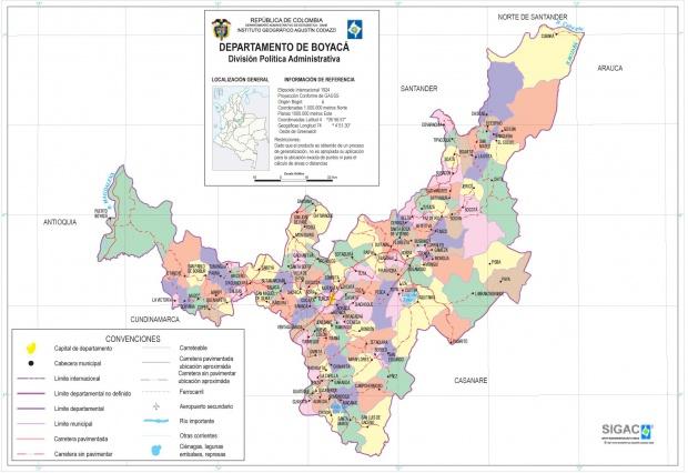 Mapa del Departamento de Boyacá, Colombia